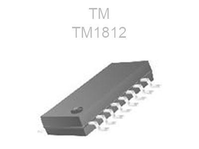 آی سی IC TM1812 دارای 16 پایه که دارای 12 خروجی ولتاژ منفی و قابلیت جریان دهی هر پایه تا 20 میلی آمپر مناسب درایو LED RGB تا 4 گروه RGB